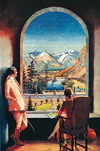 Artland Wandbild auf Alu-Verbundplatte Unbekannter Künstler Banff Springs Hotel Landschaften Fensterblick Zeichnung Rot 30 x 20 x 1 cm C9XM - Canadian Pacific Hotel