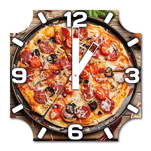 pizza-design-wanduhr-aus-alu-dibond-zum-aufhangen-30-cm-durchmesser-breite-zeiger-schone-und-moderne