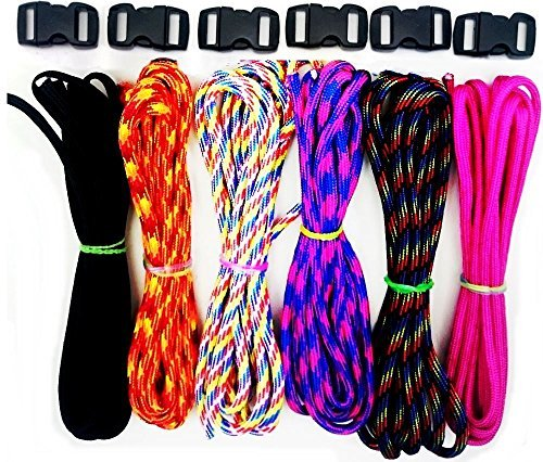 6 Make Your Own Wristband Paracord Parachute Lanyard Cord 6 Clips Assorted Colours Kid Child Gift Bush Craft Toy by Concept4u (Halloween-clips Für Kids)