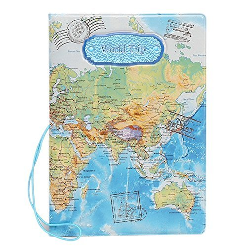 Custodia PU Cuoio per Passaporto Portadocumenti Carta di Credito ID da Viaggio Stampa Mappa del Mondo Passport Holder, Blu