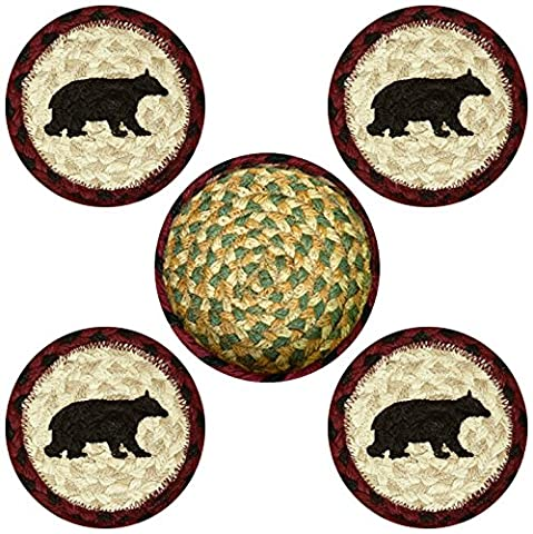 Earth Rugs 29-CB395CB Cabin Bear Design Round Jute Basket with