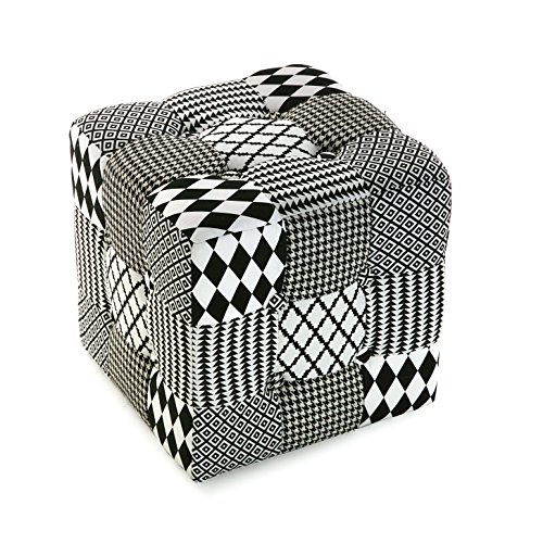 Versa 19501302 Taburete cubo puff asiento W&B,35x35x35, Blanco Negro G