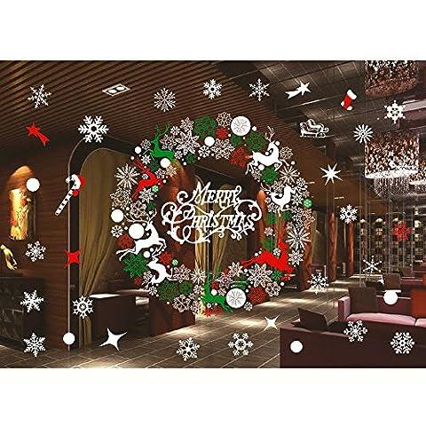 Eizur Abnehmbar Weihnachten Schneeflocke Wandtattoo Wandsticker Weihnachtssticker Wandaufkleber Weihnachten Wand Aufkleber Deko Sticker Wandbilder Fensterdekoration DIY Weihnachtsdekoration - Typ D