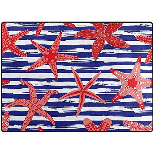 Saudade House Area Rugs Alfombras De Área Mar Rojo Estrella De Mar Azul Alfombrilla De Rayas Blancas...