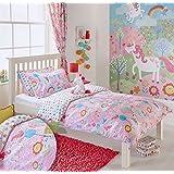 Unicorn Girls Junior Toddler Quilt Duvet Cover and Pillowcase Bedding Bed Set Flowers Rainbows - Pink