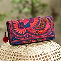 c8bf62b67 Changnoi Fair Trade Bohemian Wallet/Purse for Women with Tribal Hmong  Embroidered and Pom Pom