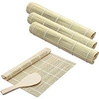 Cyleibe Kit De Fabrication De Sushis En Bambou ,4 Tapis De Sushi De Roulement ,1spatule à Riz, Sushi Diy Kit Tapis En…