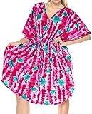 LA LEELA Kurz Kaftan Frauen-Bikini-Vertuschung Kleid Tunika Badeanzug Bademode Poncho Badebekleidung rosa