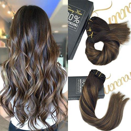 Sunny Multi Balayage Color Chestnut Brown mixed Brown 9pcs/140g 16Pouces/40cm Remy Bresilien Extension Cheveux Clips Naturel