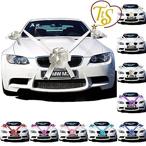 TtS Silver Ribbon Wedding Car Decoration Kit Wrapping Large Bow (3 Bows 7 metres Ribbon )