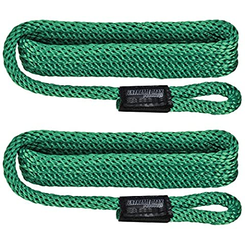 Extreme Max 3006.2162 BoatTector Premium Solid Braid Nylon Fender Line (Pair), 3/8-Inch x 5-Feet, Forest