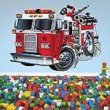 azutura Red Fire Truck Wandtattoo Feuerwehr Wand Sticker Jungen Schlafzimmer Haus Dekor Erhältlich in 8 Größen XX-Groß Digital Vergleich