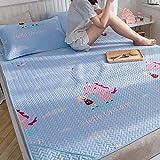 Tapis De Sommeil D'été Lavé Lit De 1.2m Tapis De Soie De Glace Pliable Tapis De Climatisation De Tencel Matelas Doux Doux Lit De 1.5m 3 Pièces ( Couleur : Style 2 , taille : 1.2m (4 ft) bed )