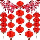 Blulu 16 Pièces Ensemble de Décoration Suspendue de Nouvel an Chinois, Comprenant Guirlande Suspendue Fu, Lanternes Suspendues Rouges en Nid d'abeille Quadruple et Lanternes Simples en Nid d'abeille