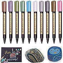 Pennarelli Metallici, Beupro Evidenziatori colori metallici set di 10 pennarelli in colori assortiti per carte da regalo, album fotografici artigianali, pittura su roccia, vetro, metallo, legno