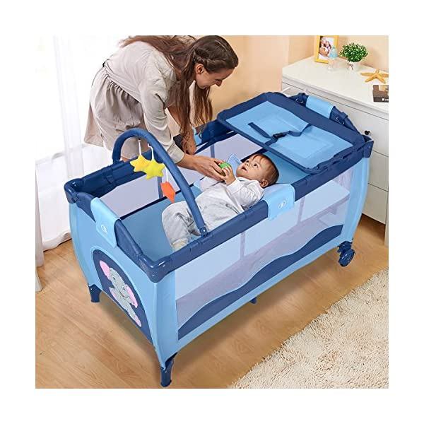 COSTWAY Portable Infant Baby Travel Cot, Bed Play Pen, Child Bassinet Playpen Entryway, with Mat 2 in 1 (Blue) Costway 【Excluded locations】Guernsey, JERSEY, Channel Islands, Isle of Man, Scilly Isles, Scottish Islands, PO BOX 【Folded Design】Due to its folding design, you can take it to anywhere as you like by packing it in the supplied carry bag, and it just takes you a while to fold or unfold it before using. 【See-through safety mesh】It features mesh cloth on both sides, this netted areas allow your baby to see out clearly as well as an onlooker to see in to her/him, and it also offers great ventilation for your baby. 4