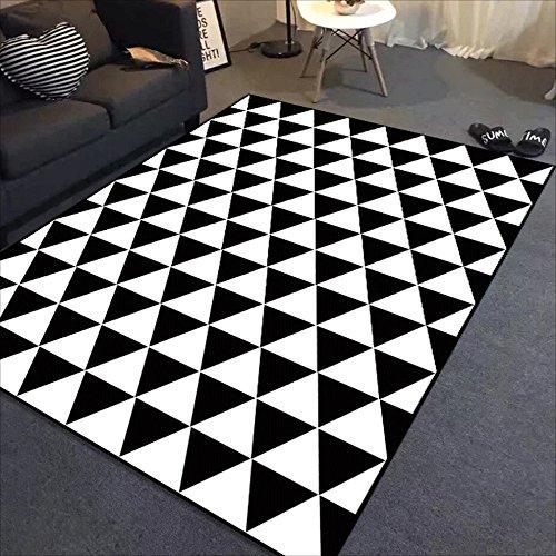 LILY Rechteckiger Polyester-kurzer Stapel-Teppich, nordischer einfacher geometrischer Schwarzweiss-Wolldecke, Wohnzimmer-Schlafzimmer-Studien-Teppich ( Color : A , Größe : 140*200cm ) Outdoor-läufer Teppich 2 X 14