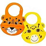 Bavaglino in Silicone Morbido con Tasca Raccoglipappa, Set 2 Pezzi, Tigre Arancione Giraffa Giallo, Impermeabile, Lavabile in