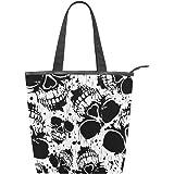 Jeansame Canvas Tote Bag Damen Shopper Top Griff Taschen Schultertaschen mit Reißverschluss Totenkopf Halloween Schwarz Weiß