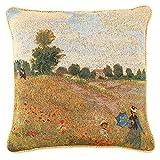 Signare Designer Ungewöhnlich Kissenbezug/Kissenhüllen 45x45cm Tapisserie Gelb Couch Hause - Monet/Poppy Field CCOV-Art-Monet-1