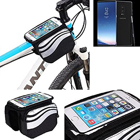 For Samsung Galaxy Note 8: Cycling Frame Bag, Head Tube Bag, Front Top Tube Frame Pannier Double Bag Pouch Holder Crossbar Bag, black-silver water resistant -