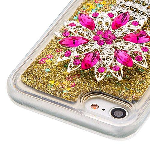 """Flüssiges Case Ultra Thin Dünn TPU Silikon Schutzhülle für iPhone 7 4.7"""" 3D Kreative Liquid Handyhülle Durchsichtig Rückseite Tasche Glitter Shiny Kristall Klar Handytasche Sparkle Dynamisch Treibsand D10"""
