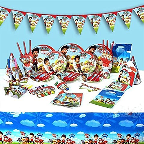 paw patrol complete party supplies set kids birthday party plates napkins cups hats and more for 6