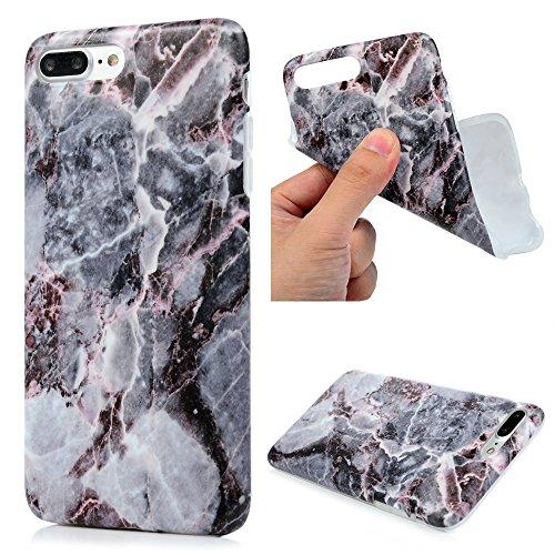 iphone 7 Plus Custodia Silicone Marmo Morbido Gel Gomma - YOKIRIN TPU Case Ultra Sottile Flessibile Per iPhone 7 Plus - Nero + Marrone Nero Giallo Grigio + Marrone Nero