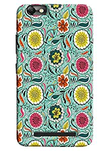 Omnam Flower Pattern On Green Base Printed Designer Back Cover Case For Lenovo Vibe C (A2020)