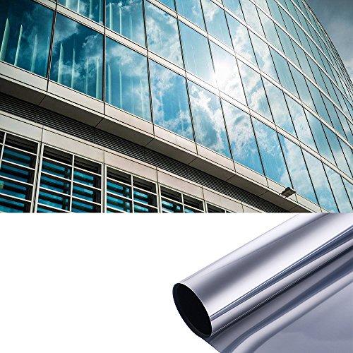 XLORDX Spiegelfolie Selbstklebend Sonnenschutzfolie Sichtschutzfolie selbstklebende Fensterfolie Tönungsfolie Kratzfest Sichtschutz Wärmeisolierung 99% UV-Schutz Silber 60 x 200 CM