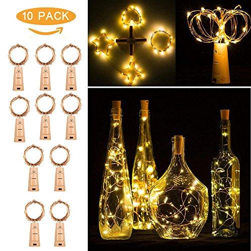 10pcs Flaschen Licht Warmweiß, Flaschenlichter Lichterketten Nacht Licht Weinflasche Flaschenlicht Kork Flaschen Licht LED Lichter Flaschen für Party Dekor Weihnachten Hochzeit (Gelb)