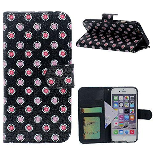 """Rabat Portefeuille Carte Titulaire iPhone 6 Coque, Mignon Tortue Motif, multi Function PU Cuir iPhone 6S 4.7"""" Housse Etui Protection Noir-2"""