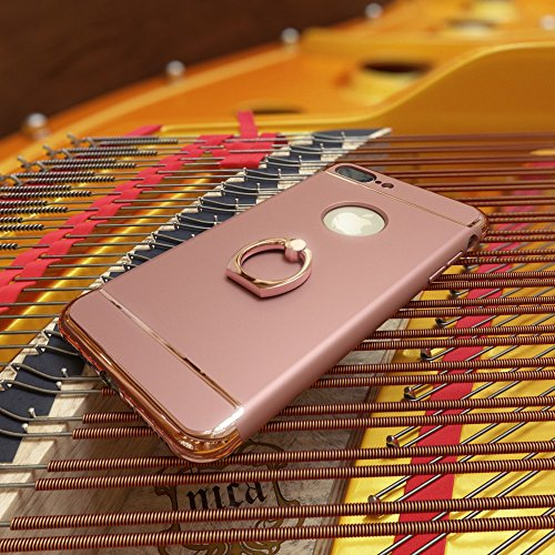 iPhone 8 / 7 Ring Hülle Handyhülle von NICA, Schutz-Cover mit 360-Grad Fingerhalterung, Dünnes Hard-Case mit Ständer, Slim Backcover Etui matt metallisch für Apple i-Phone 7 / 8 Smartphone - Rose Gold Rose Gold