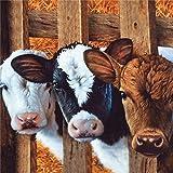 Schwarzer Stoff mit Kuh Schwein Schaf Huhn von Robert