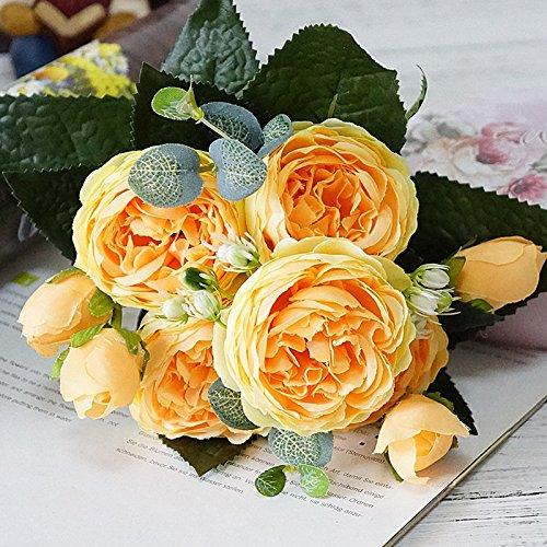 Künstliche Blumen, künstliche Blumen Seide 5Köpfe Rosen Hochzeit Party Küche Home Dekoration, Seide, gelb, 30 cm (Seide Blumen Rosen Gelb)