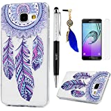 Lanveni étui Samsung Galaxy A3(Version 2016),Housse Coque Ultra Hybrid Fine Mince Premium Gel Phone Case Crystal Clear TPU + Technologique IMD Souple Slicone + Stylo Capacitif + Bouchon Anti-poussière + Film de Protection d'Écran Attrape Rêves