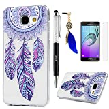 A3 Case, Galaxy A3 Case Cover 2016 Version ,Lanveni Colorful Painting Series Soft Rubber TPU Gel Cover [Slim Fit] [Full-edged Protection] for Samsung Galaxy A3 + One Dust Plug + One Stylus Pen + One Screen Protector - Desgin 1