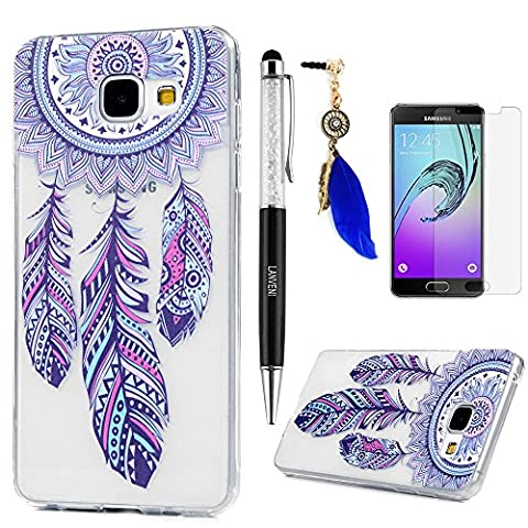 A3 Case Cover 2016 Version, Lanveni Colorful Painting Series Soft Rubber TPU Gel Cover [Slim Fit] [Full-edged Protection] for Samsung Galaxy A3 2016 + 1 Dust Plug + 1 Stylus Pen + 1 Screen Protector - Desgin