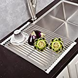 Top Home Solutions über die Spüle Küche Abtropfgestell Trocknen Rack Rolle bis klappbar, Edelstahl weiß
