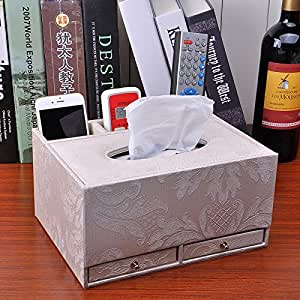 YXYLQ Multifunktionale Leder Tissue Box Kreative Restaurant Schublade Tablett Couchtisch Fernbedienung Aufbewahrungsbox-Maroon
