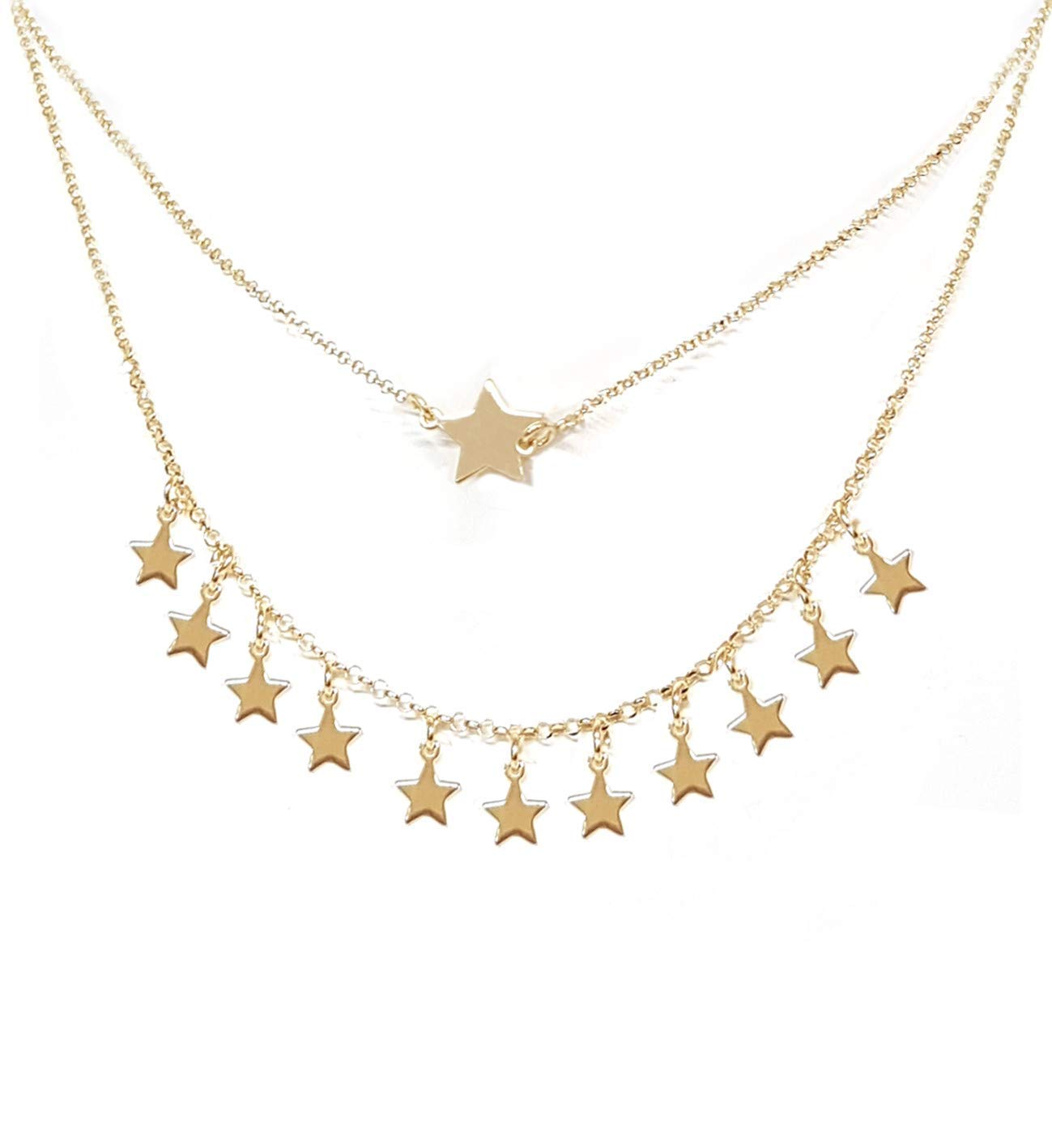 Double strand stars women's necklace, in 925 gold-plated silver - Linea  Italia, Made in Italy jewelry