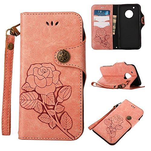 YHUISEN Moto G5 Plus Case, Luxus Retro Rose Premium PU Leder Magnetverschluss Flip Wallet Schutzhülle mit Lanyard für Motorola Moto G5 Plus (2017) ( Color : Khaki ) Pink