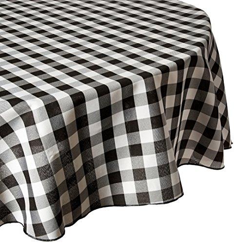 LinenTablecloth 229cm rund Tischdecke, Polyester, Schwarz & Weiß Checker (Tischdecke Schwarz Checker)