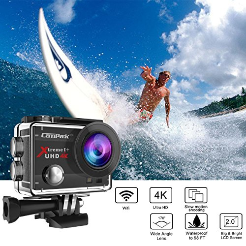 Campark ACT74 Cámara Deportiva 4k Ultra HD 16MP (WiFi, 170° Ángulo Ajustable Lens, Camara Acuatica de 30M con 2 Baterías y Accesorios Kit Compatible con gopro) Ofertas de Navidad