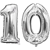 Meowoo 10 ans Décoration Anniversaire, Fête Ballons 10 ans Ballons Chiffre Ballons pour 10e Anniversaire de Mariage Fête…