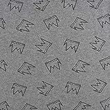 SCHÖNER LEBEN. Strickschlauch Bündchenstoff Kronen grau meliert schwarz 35cm Breite