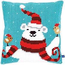 Vervaco–Kit para cojín de punto de cruz de feliz Navidad oso, varios colores