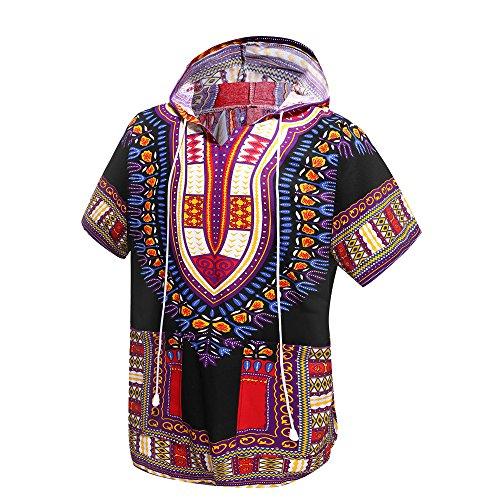 Traditionelle Dashiki (Orang Afrikanisches Dashiki Hemd Unisex Afrika Indische Traditionelle Hoodie Top Kleidung von Einheitsgröße für alle (Black and Purple))