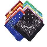 THETAG Bandanas, 12PCS Paisley Bandanas Multifunction Colored Cycling Headband Neckerchief Handkerchief for Men Women Hip-Hop