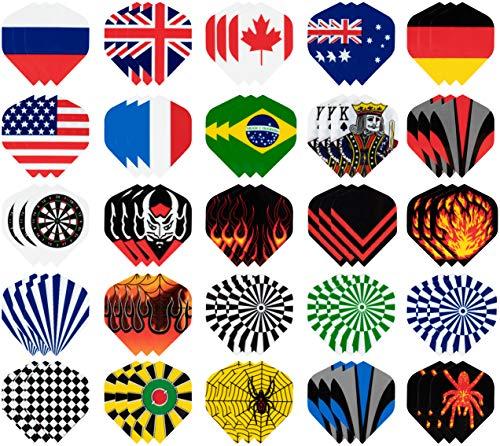 Juvale Dart Flights Standard - 25er Set (75 Stück) Kunststoff Dartflights, Dart Tails mit Nationalflagge Cool Styles, perfektes Zubehör für Dartspiele (Halloween-pins Machen Zu)